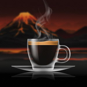 Glass of espresso coffee in volcanic landscape