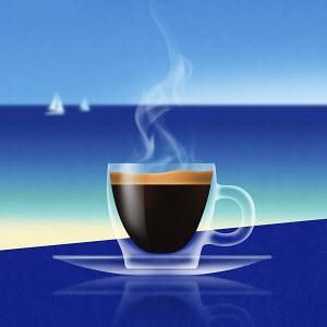 Glass of espresso at the coast