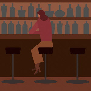 Woman drinking alone in bar