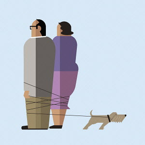 Couple tied up in dog's lead