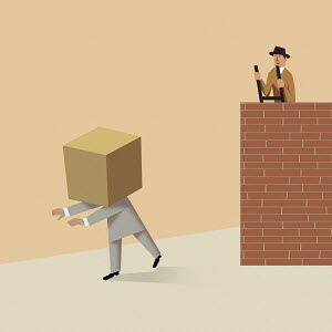 Contrast between businessman with box on head and man looking over wall