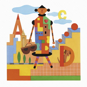 Alphabet letters hidden in multi coloured illustration