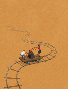 Man and woman working dollar handcar
