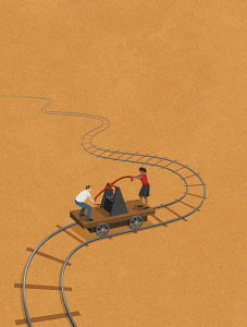 Man and woman working euro handcar