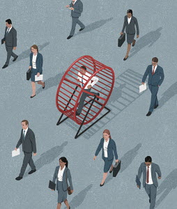 Lots of business people with man trapped in hamster wheel