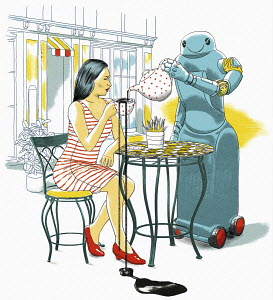 Robot waiter spilling customer's tea in cafe