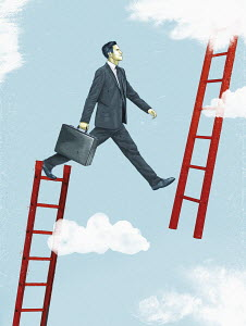 Businessman changing career ladder in sky