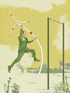 Businessman pole vaulting with wind turbine