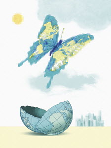 Pixellated world map butterfly emerging from broken globe