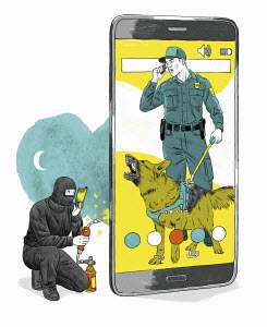 Phone security system detecting hacker