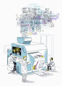 Scientists processing lots of data on large machine