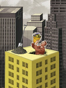 Businessman emerging from hole in skyscraper with bucket of money