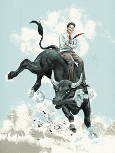 Relaxed businessman riding bucking bull