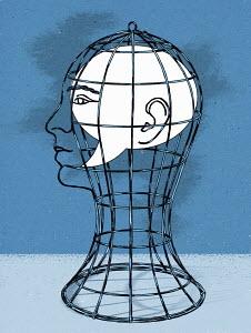 Speech bubble trapped inside of birdcage head