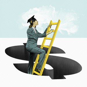 Graduate climbing out of dollar sign hole