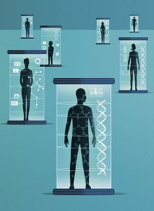 Different people inside genetic scanners
