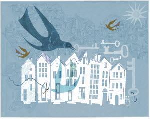 Birds, keys and row of houses