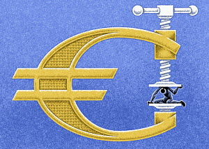 Man being squeezed in euro sign vice grip