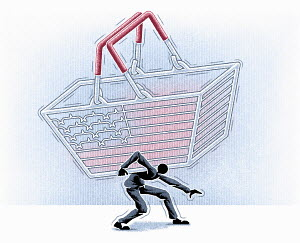 Man struggling under Stars and Stripes shopping basket