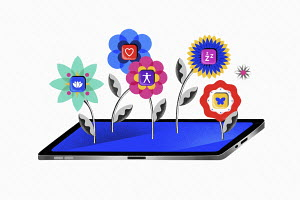 App flowers growing from digital tablet screen