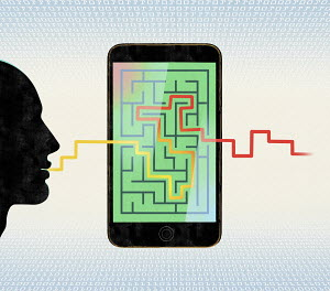 Man's speech entering smart phone maze and emerging out the other side