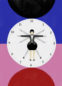 Businesswoman with multiple arms and legs as clock hands