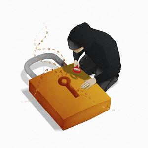 Hacker examining padlock leaking data