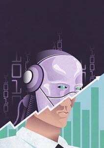 Successful cyborg businessman