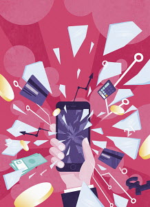 Money and credit cards exploding from shattering smart phone