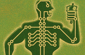 Man being squeezed by circuit board strongman