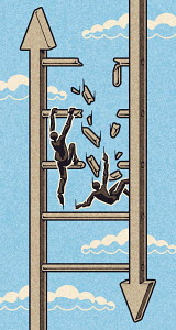 Businessmen falling from crumbling ladder