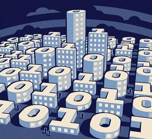 Binary code shaped city skyscrapers