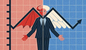 Two halves of businessman as devil and angel