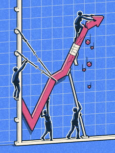 Business people trying to prop up failing line graph