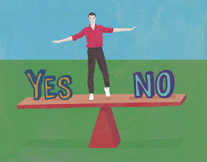 Undecided man balancing on yes or no seesaw