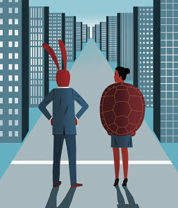 Businessman hare and businesswoman tortoise on career path