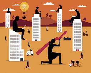 Motivated successful businessmen and businesswomen