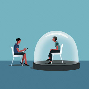Woman being interviewed isolated inside snow globe