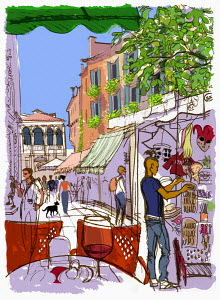 Tourists browsing street market in Venice
