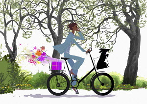 Woman cycling with dog in basket