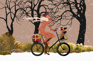 Woman cycling in winter with dog in basket