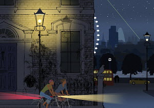 Two young women cycling near River Thames at night