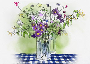 Bunch of wild flowers in vase