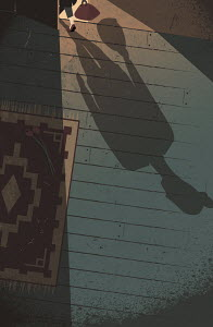 Shadow of woman leaving dark room with roses on floor