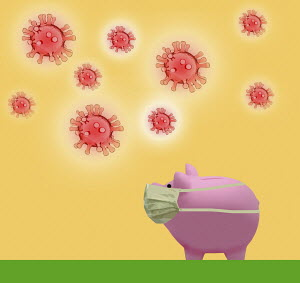 Piggy bank wearing protective mask and surrounded by Coronavirus