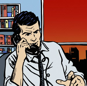 Businessman in office on telephone