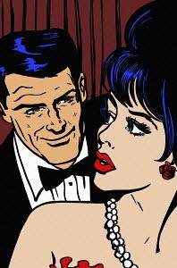 Beautiful woman wary of flirting older man