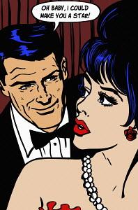 Man seducing beautiful woman with promise of film career