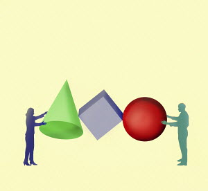 Businessman and businesswoman working together to organise shapes