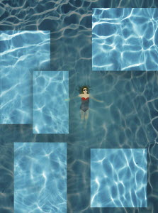Woman floating in rippling swimming pool